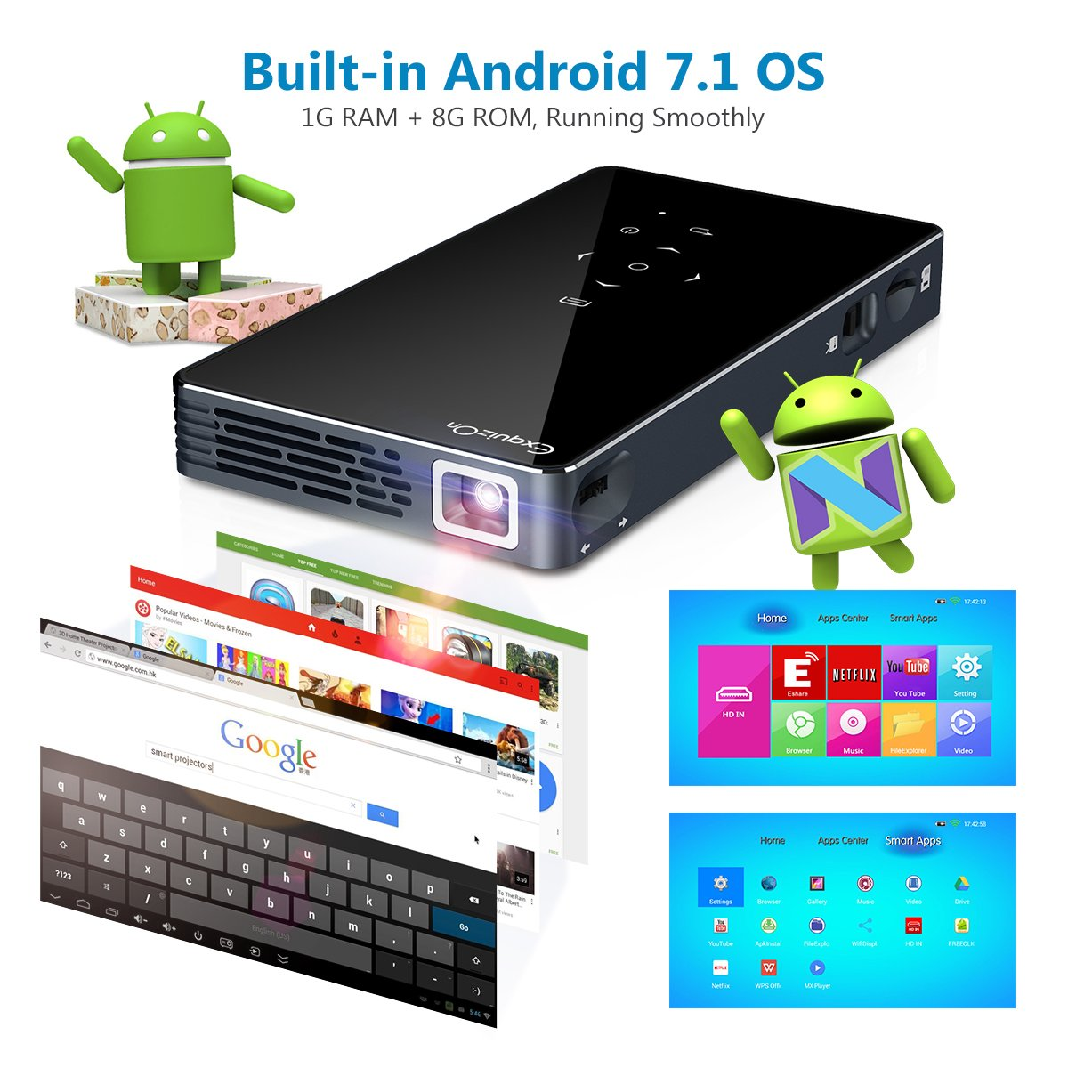 Proyector Android 7.1 DLP Proyector ExquizOn P8I Video 1080P Full HD ...