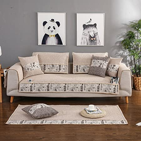 J&DSSUk Cubierta del sofá 1 Pieza de algodón Lino Elegante ...