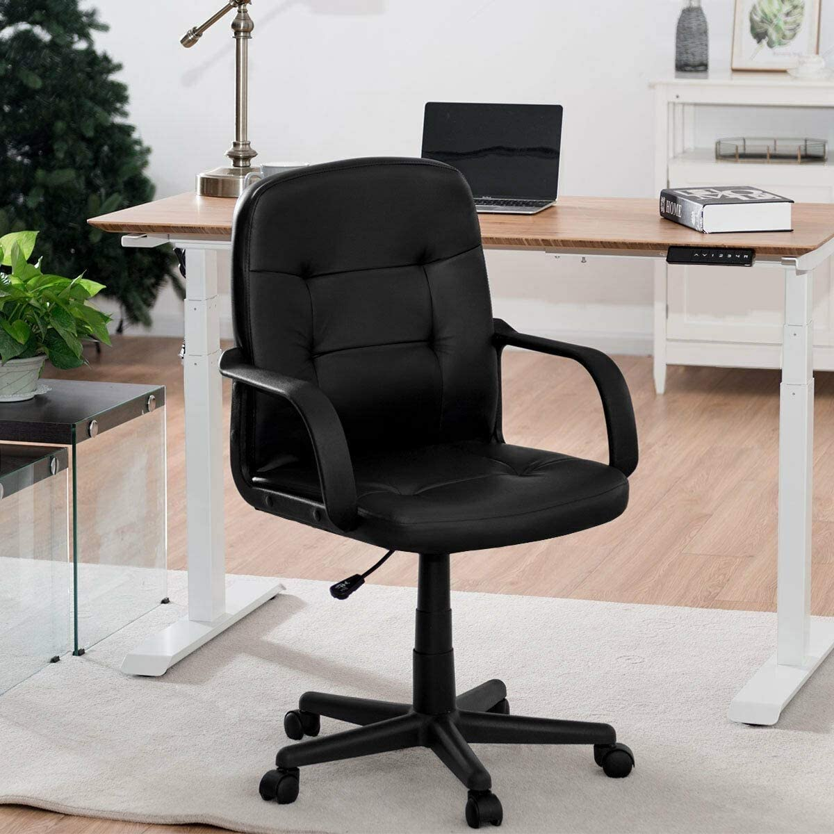 KOVALENTHOR Office Computer Desk Chair, Swivel Chair with Armrests, Ergonomic Mid-Back Executive Chair, Black
