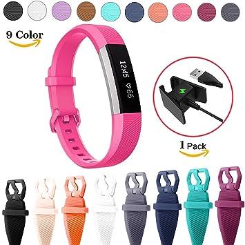 Chok Idea de la pulsera de repuesto para Fitbit alta HR, [incluye cargador USB], Classic transpirable pulsera estilo silicona correas accesorios de ...