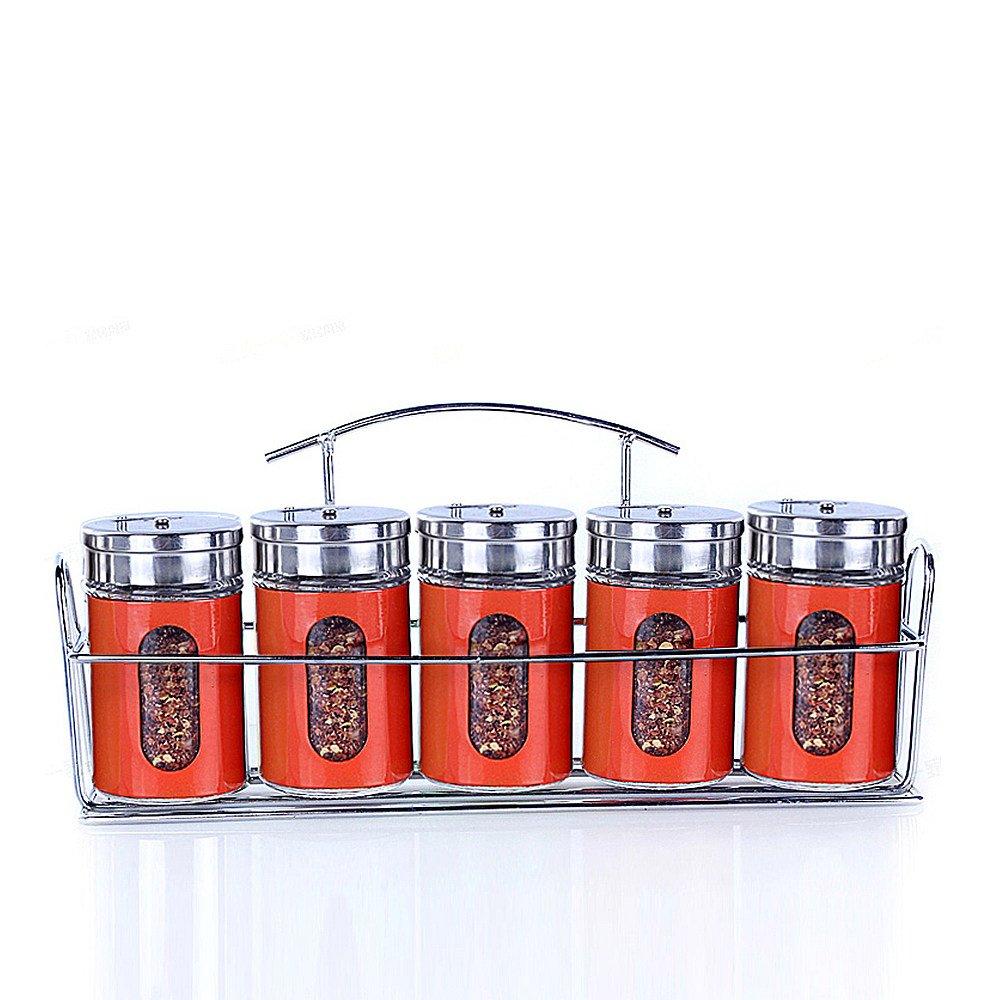 ETECHMART Salt and Pepper Shaker Set Seasoning Containers w/ Rack (Orangered, Set of 5)