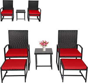 Kinbor 5PCs Deck Porch Rattan Chairs, Wicker Furniture Set with Ottoman and Coffee Table for Outdoor & Indoor (Red Cushion)