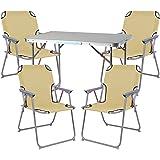 Mojawo ® 5tlg. Campingmöbel Set Alu Camping L70xB50xH59cm 1x Campingtisch mit Tragegriff + 4 Campingstühle beige Stoff Oxfort