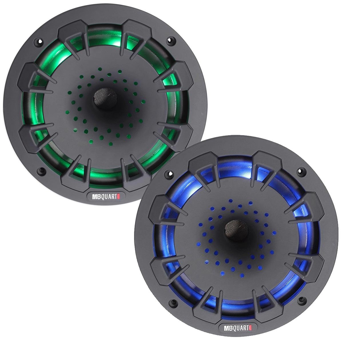 MB Quart NH1-116LB two way 6.5 inch Compression Horn Speaker with poly cone, packaged in pairs. Illuminated (Black)