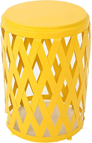 Christopher Knight Home Pecola Indoor 14 Diameter Lattice Iron Side Table, Matte Yellow