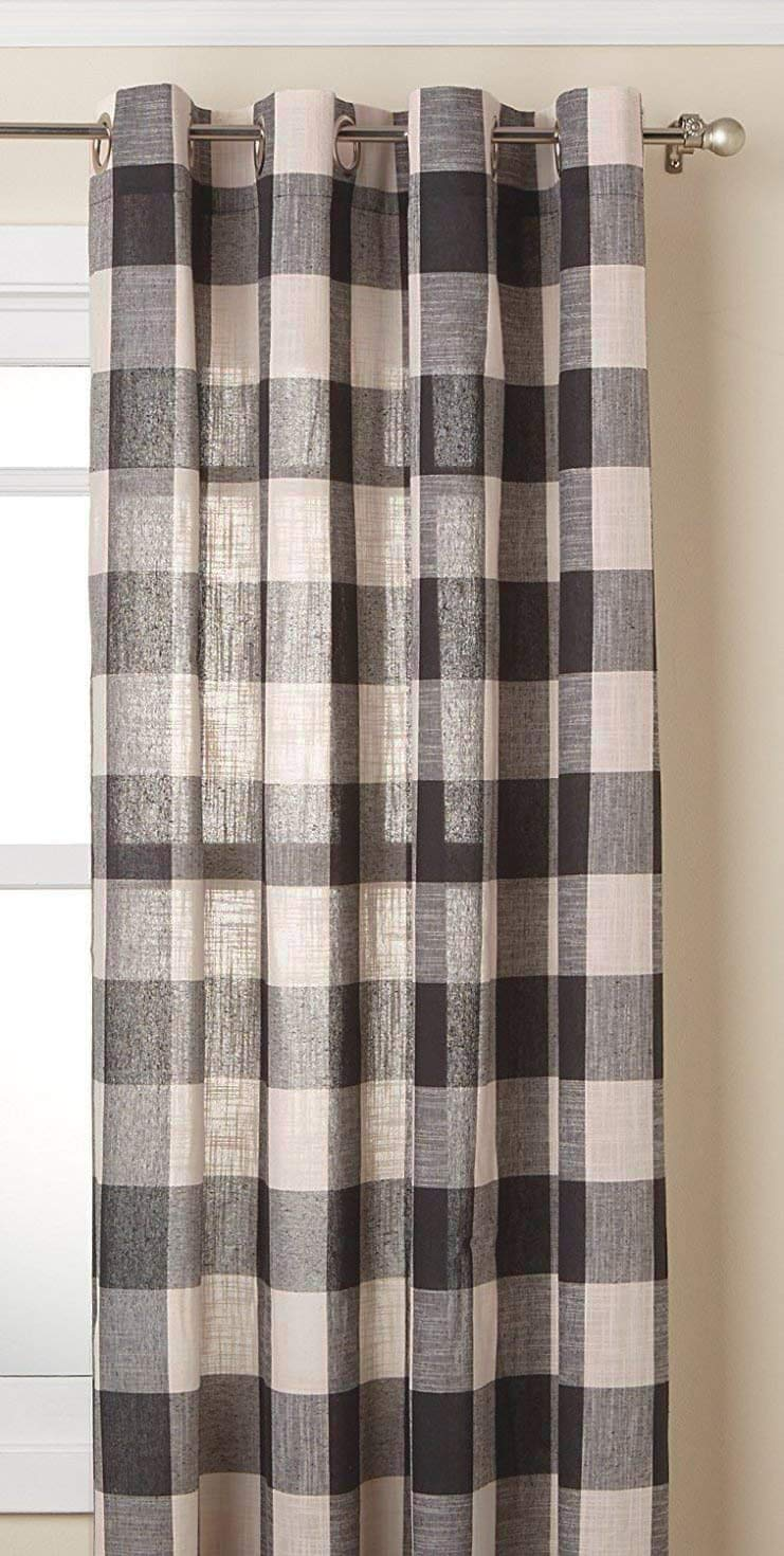 """LORRAINE HOME FASHIONS Courtyard Grommet Window Curtain Panel, Gray, 53"""" X 84"""", 53"""" Wide by 84"""" Long"""