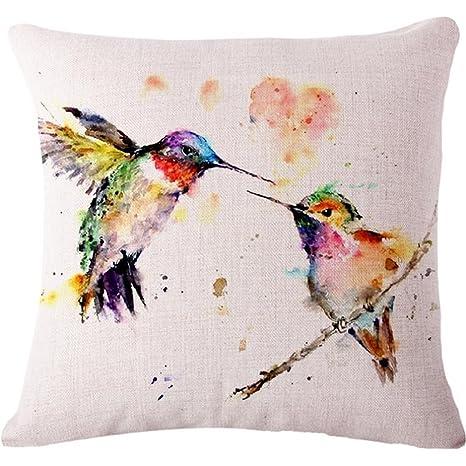 Amazon.com: Pintura al óleo Aves Colibrí Manta Funda de ...