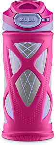 ZULU Echo BPA-Free Vacuum Insulated Stainless Steel Kids Water Bottle with Flip Straw, Pink/Purple Lasers, 12 oz.