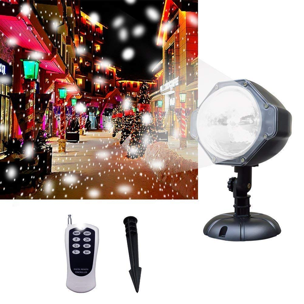Ucharge Projector Light, [Wide Coverage Version] White Snowflake Auto Moving Christmas Light Projector, Snow-Fall Light Show with Remote Rotating Projection Light Outdoor/Parties/Hallowen Decorations