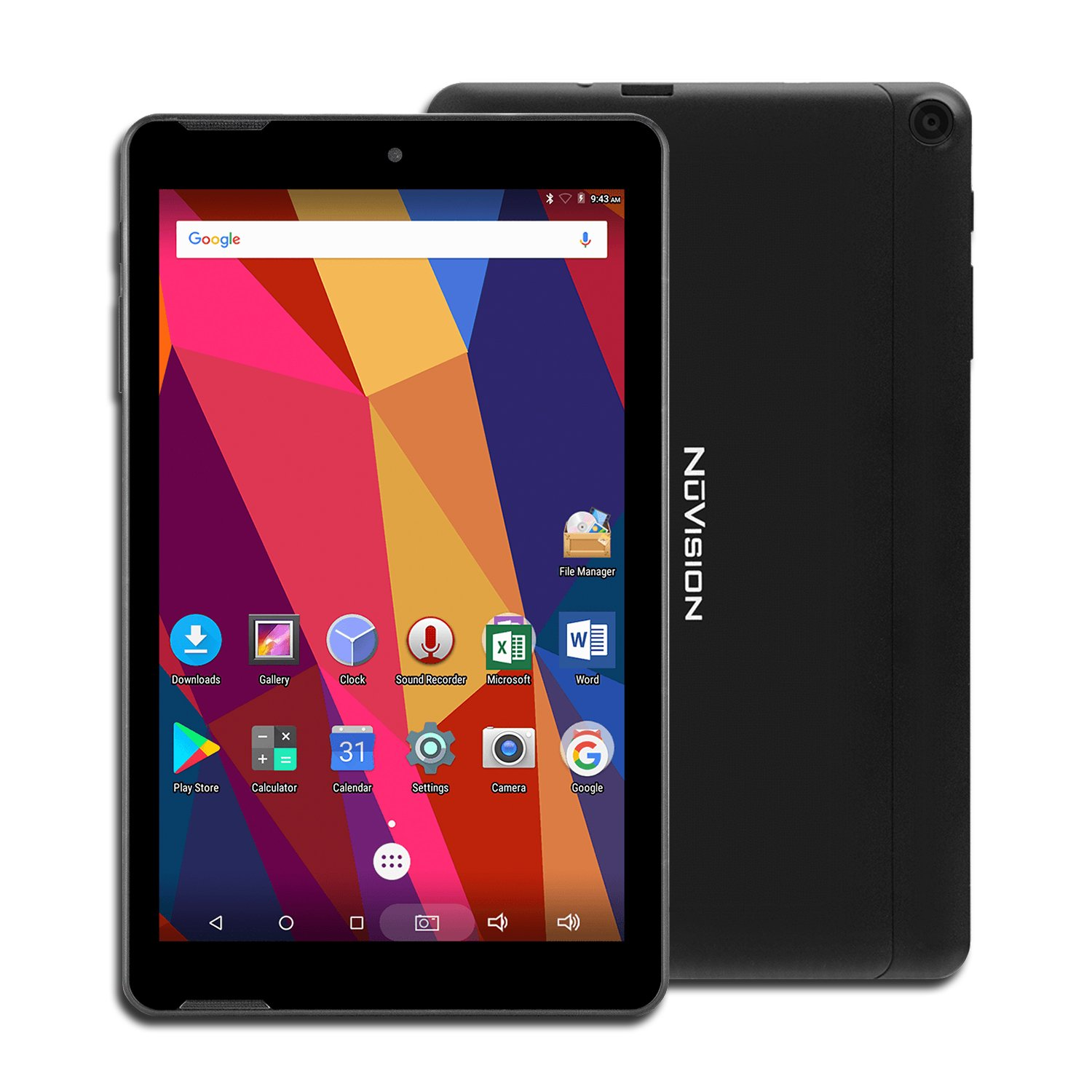 NuVision Solo 8 Android Tablet with 8 Inch Touch Screen IPS HD Display 1280 x 800, 1GB RAM 16GB Storage, 2MP Dual Camera, Quad Core 1.3GHz Processor, Bluetooth, WiFi and Micro USB, Black by Nuvision