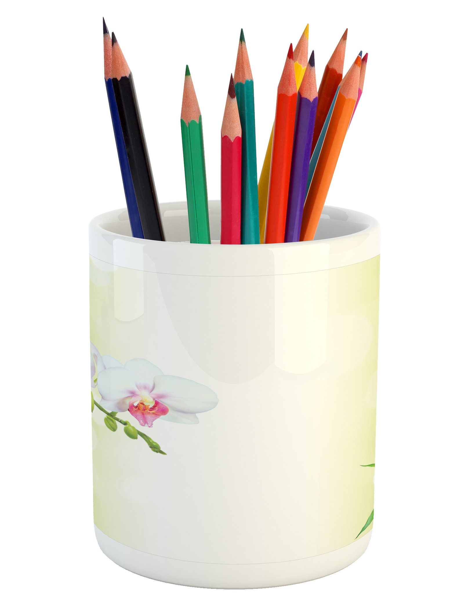 Ambesonne Spa Pencil Pen Holder, Orchid Flowers with Bamboo Branches in Vibrant Colors Spiritual Practice Theme, Printed Ceramic Pencil Pen Holder for Desk Office Accessory, White and Green