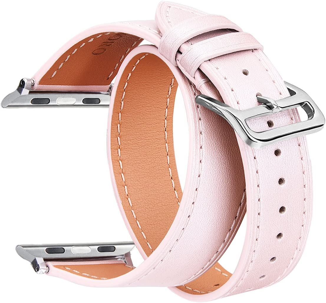 V-Moro Compatible 42mm Apple Watch Bands Women, Double Tour Genuine Leather Band Cuff Bracelet Leather Watchband Replacement for Apple iWatch (Double Tour Rose Gold, 42mm-S/M)