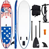 "Goplus 11' Inflatable Stand Up Paddle Board iSUP Cruiser 6"" Thickness iSUP Package w/3 Fins Thuster, Adjustable Paddle, Pump Kit and Carry Backpack"