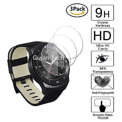 Guran [3-Unidades] Protector de Pantalla Vidrio Cristal Templado para LG G Watch R Smartwatch Cristal Vidrio Templado Film (9H, 2.5D Edge, 0.3mm)