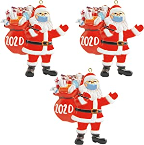 GMMC 2020 Christmas Ornaments, Santa Claus Ornaments, Christmas Tree Decoration Hanging Pendant, Santa Claus Wearing Face Cover with Gift Bag, Commemorative and Creative Gift (3PC)