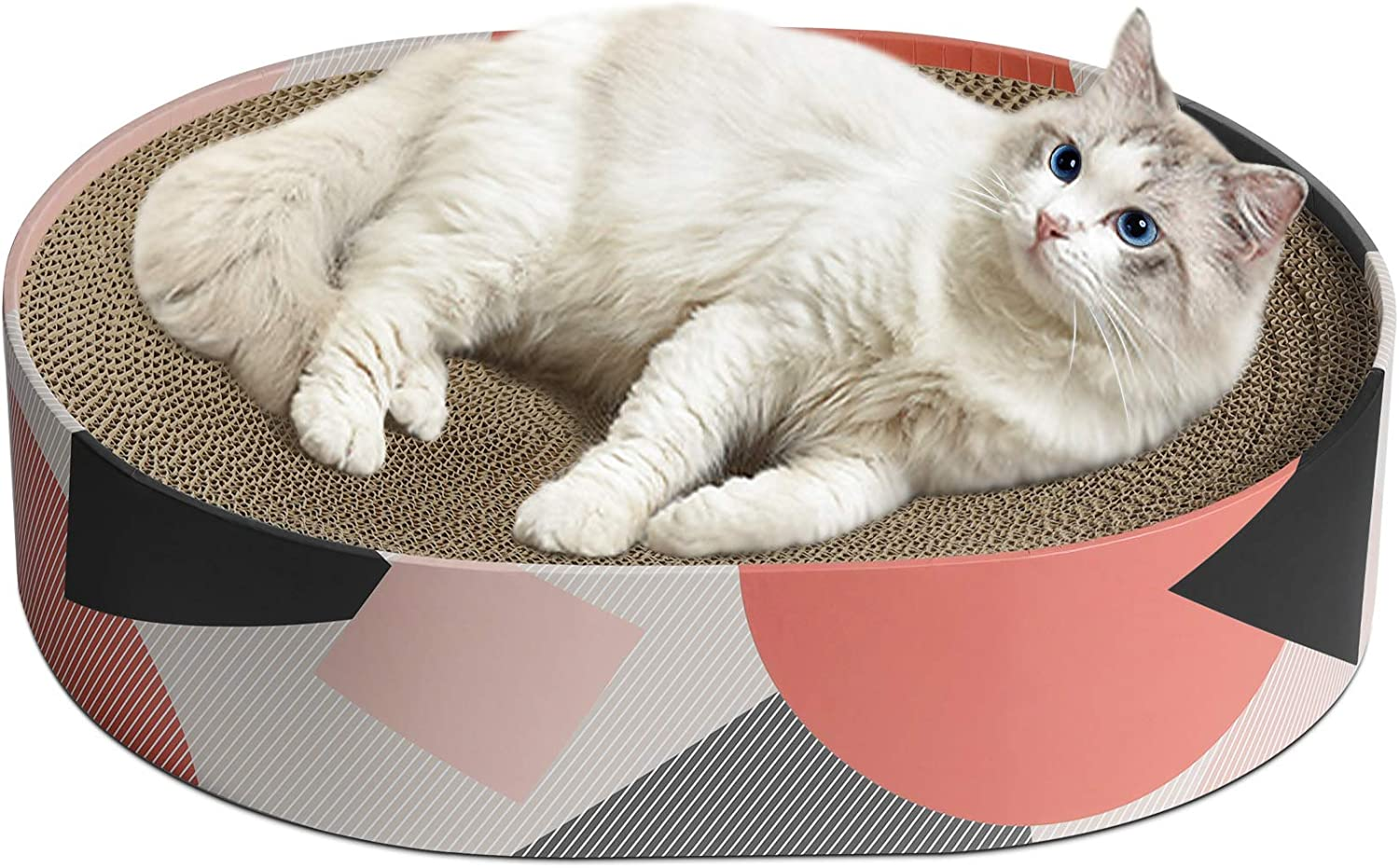 MSBC Cat Scratcher Cardboard, Oval Corrugated Scratch Pad, Cat Scratching Lounge Bed, Durable Recycle Board for Furniture Protection, Cat Scratcher Bowl, Kitten Kitty Training Toy