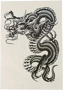 ULTNICE Tatuajes de brazo temporal, diseño de dragón negro grande ...