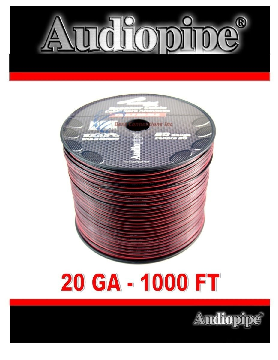 20 Gauge 1000' Speaker Cable Wire Copper Clad Red Black 12 Volt Audiopipe