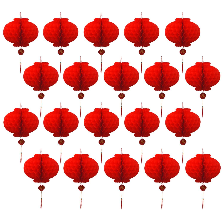 20 UNIDS Plegable Impermeable Buena Fortuna Rojo Linternas de Papel para el A/ño Nuevo Chino Fiesta de la Fiesta de Primavera Celebraci/ón Decoraci/ón Del Hogar 18 cm