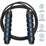 """Tobeape Skipping Rope Tangle-Free with Ball Bearings Rapid Speed Jump Rope Cable and 6"""" Memory Foam Handles Ideal for Aerobic Exercise Like Speed Training, Endurance Training and Fitness Gym"""