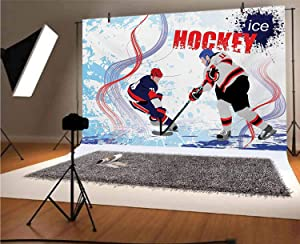 Hockey 20x10 FT Vinyl Backdrop PhotographersTwo Ice Hockey Players in Cartoon Style on Grunge Abstract Skating Rink Backdrop Background for Baby Birthday Party Wedding Graduation Home Decoration