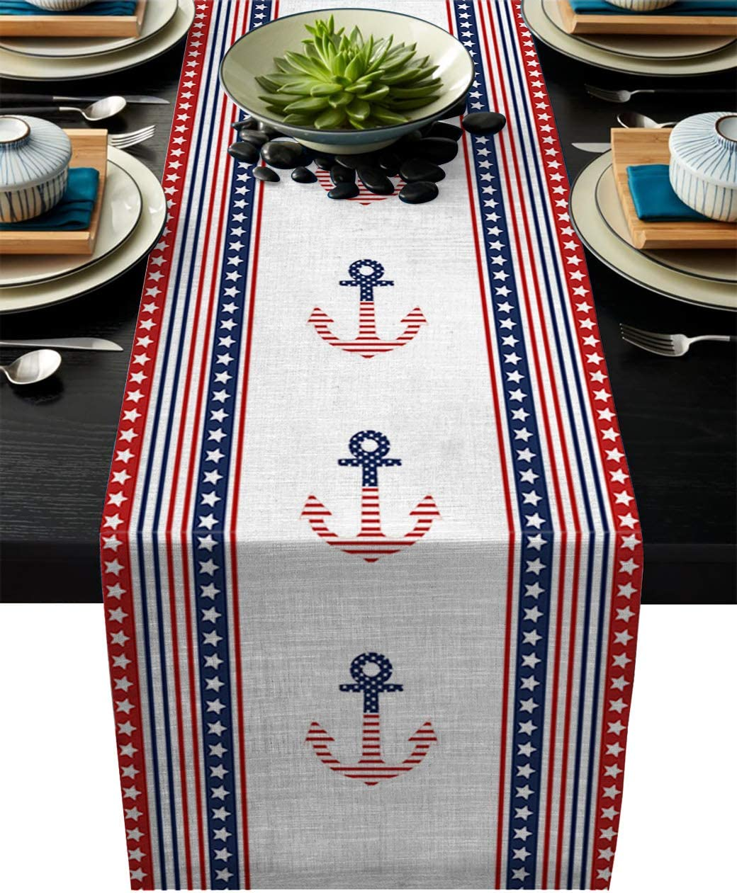 ARTSHOWING Burlap Table Runner 13x90 inches American Flag Table Runners for Dining Buffet Kitchen Table Dresser, Farmhouse, Weddings, Party Decorations - Independence Day Patriot Decor Anchor