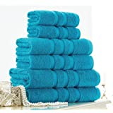 Egyptian Cotton Towels Set 600gsm 6 Piece Luxury Bale Bathroom Towels Large Striped Super Soft Combed Highly Absorbent High Quality Towels, Turquoise