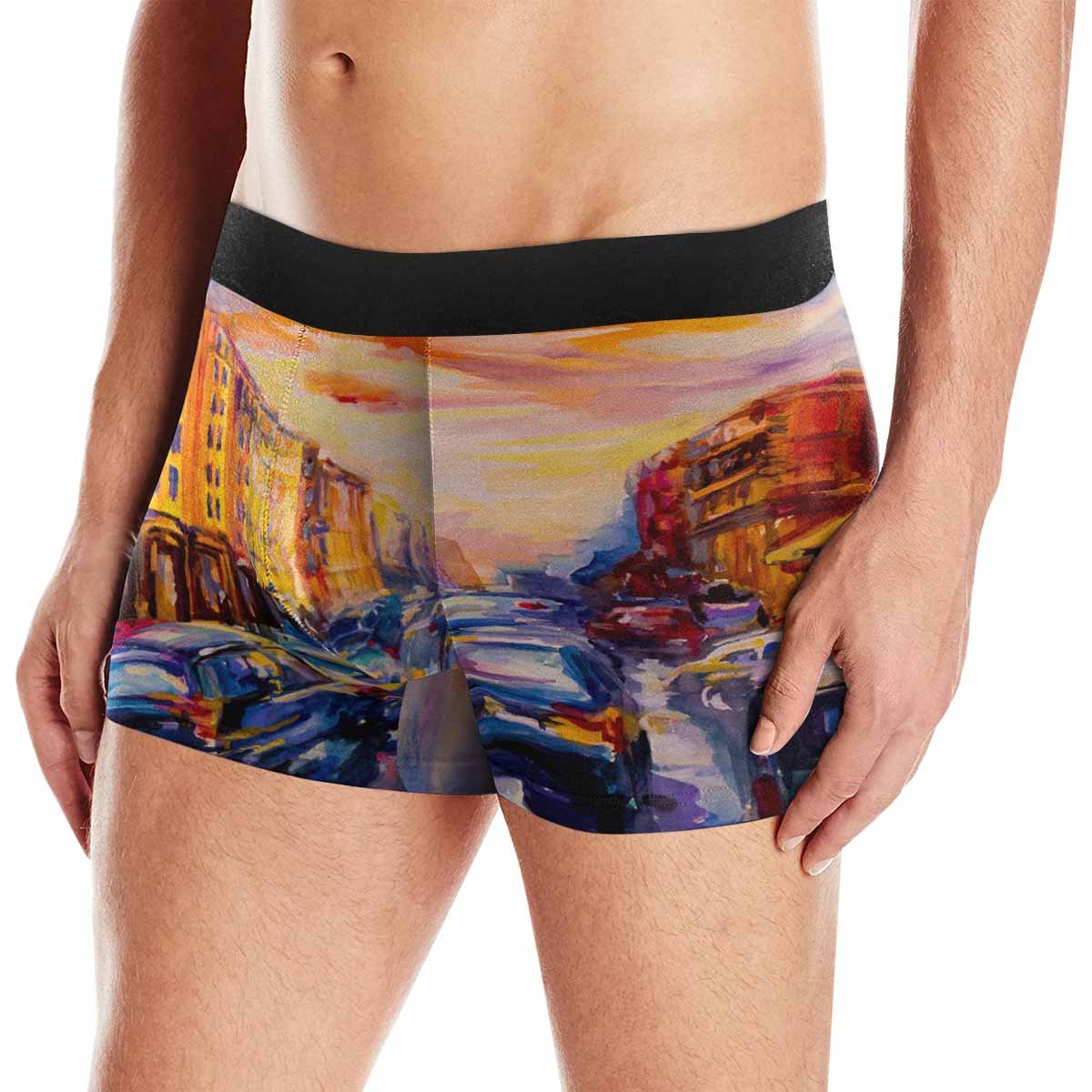 XS-3XL INTERESTPRINT Mens Boxer Briefs Underwear Scenic Cityscape Oil Painting View