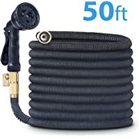 Cacagoo 50-Feet Expandable Water Garden Hose with Double Latex Core and 8 Functions Sprayer