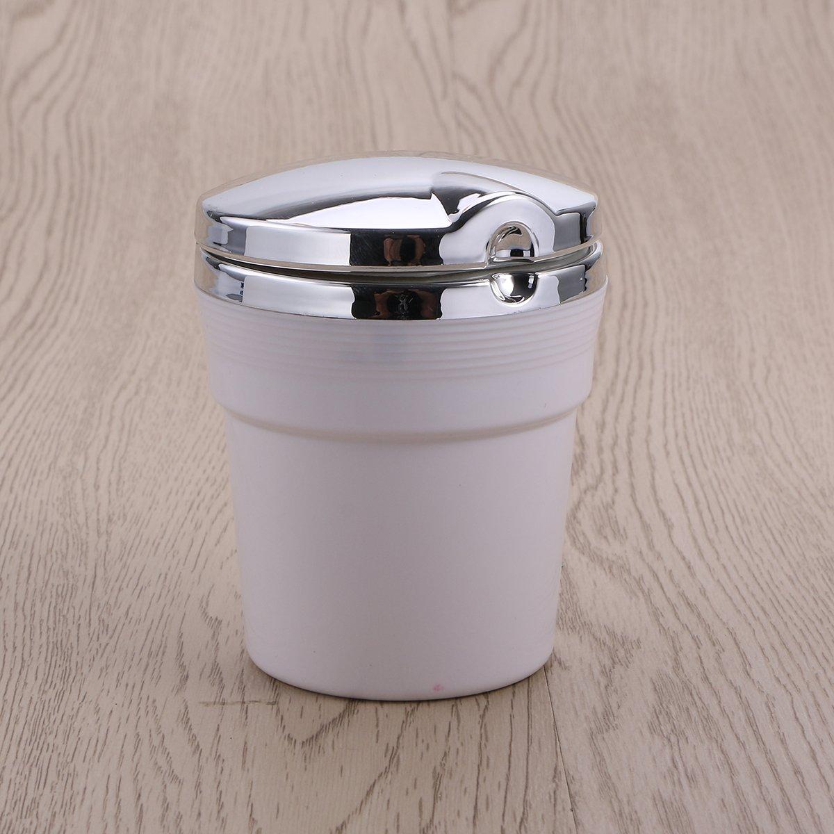 wei/ß VORCOOL Tragbare Auto Auto Rauchfreien St/änder Zylinder Cup Holder Zigarette Aschenbecher mit Blau LED-Licht