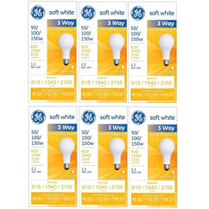 GE 97494 50/100/150 Watt 3-Way Light Bulb with Medium Base, 615/1540/2155 Lumens, A21, Soft White, 6