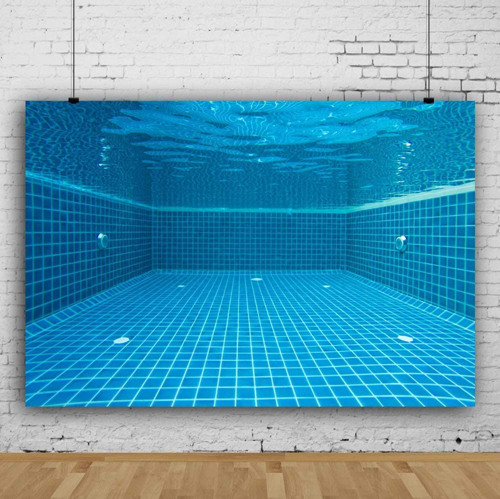 Vinyl 10x8ft Swimming Pool Underwater Backdrop Vinyl Summer Holiday Backgroud Children Adult Swimming Match Portraits Studio Props Baby Shower Photobooth Backdrops
