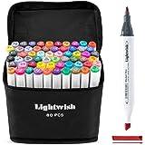 Marcadores de desenho artístico de álcool da Lightwish, marcadores com ponta dupla à base de álcool e bolsa de transporte, Mu