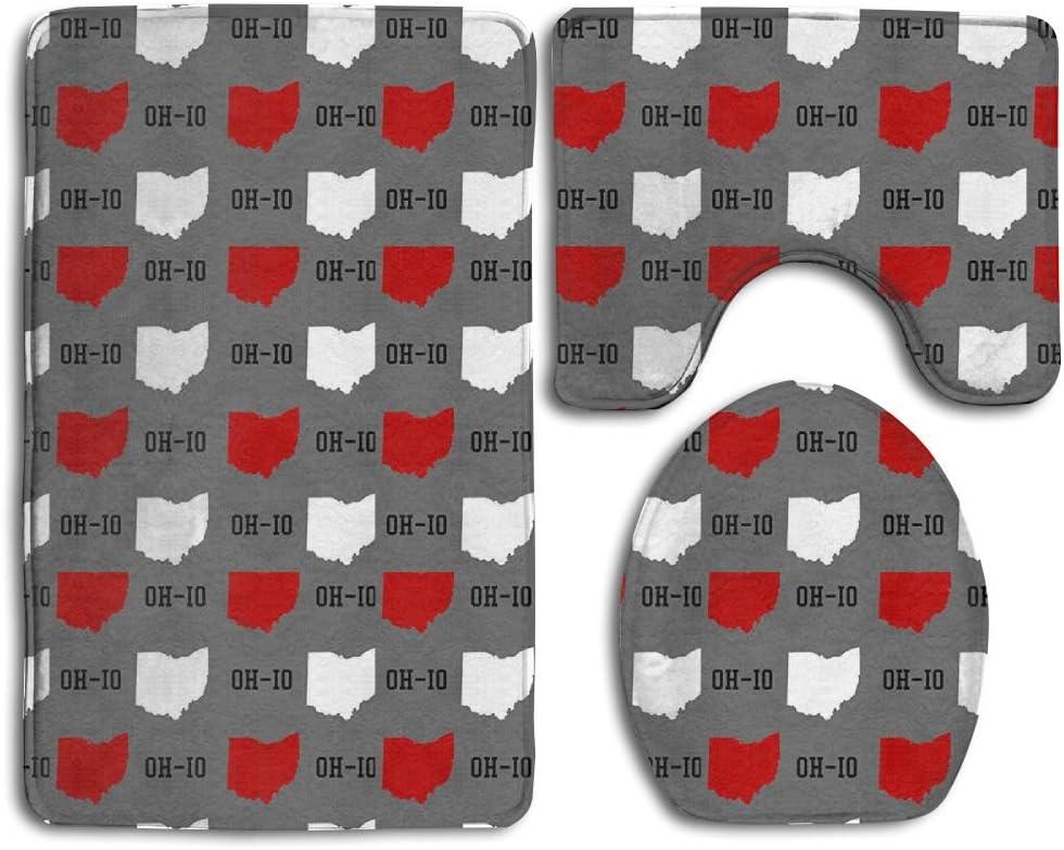 Princekling Oh-Io State Gray 3-Piece Soft Bath Rug Set Includes Bathroom Mat Contour Rug Lid Toilet Cover Home Decorative Doormat