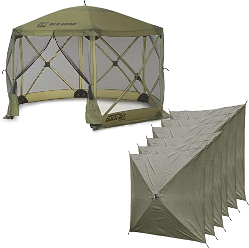 QUICK-SET Clam Escape Portable Camping Outdoor Canopy Screen 6 Wind Panels