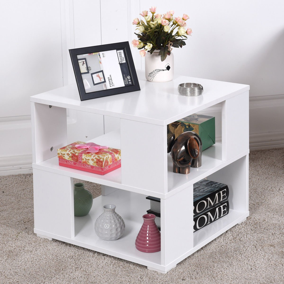 Coffee Table With Storage Cubes.Amazon Com Caraya Coffee End Side Table With Storage Cube Shelves