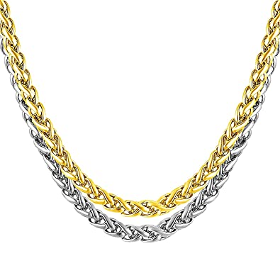 6656c2ab113 Miami Men Jewellery Valentine Silver Gold Rope Chain 2 Pcs Combo Necklace  Chain for Men Husband Boys Boyfriend Gents Mens Chains for Pendants -CN189:  ...