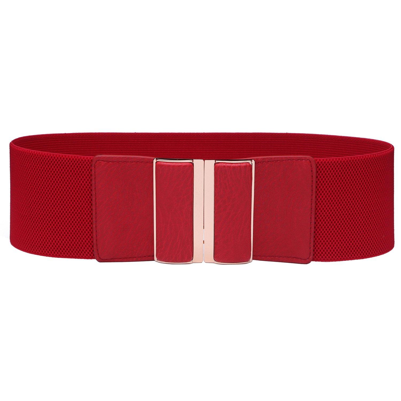 Syuer Womens Simple Style Metal Buckle Elastic Wide Waist Belt
