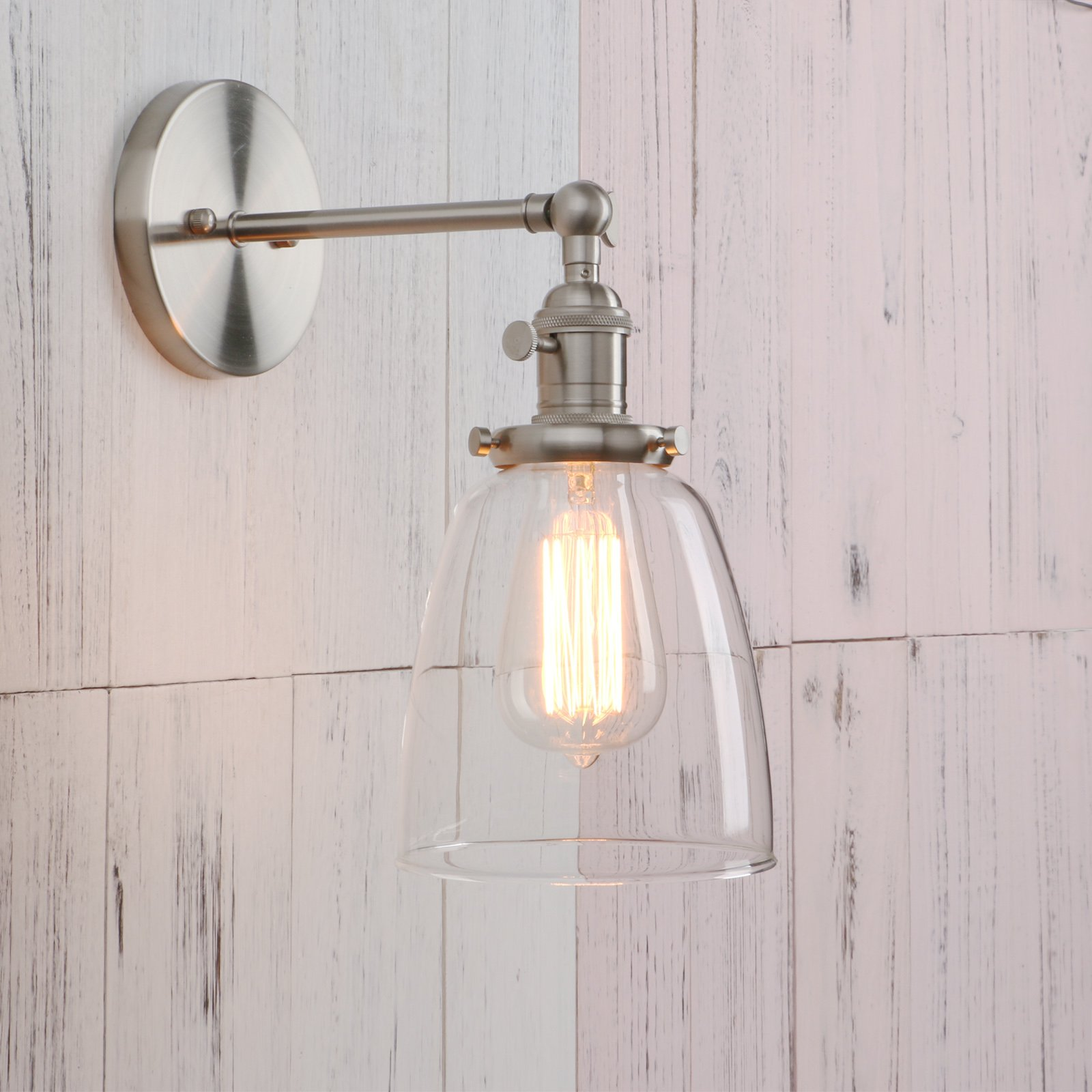 Permo Industrial Vintage Single Sconce With Oval Cone Clear Glass Shade 1-light Wall Sconce Wall Lamp (Brushed) by Permo (Image #2)