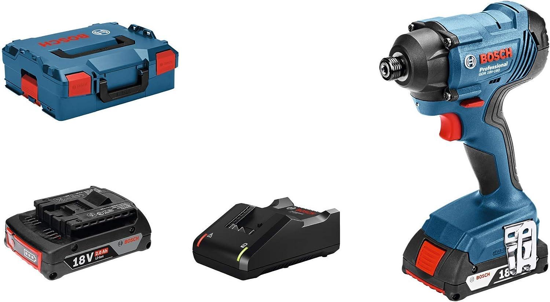 Bosch Professional GDR 18V-160 Atornillador de impacto, 2 baterías x 2.0 Ah, 160 Nm, en L-BOXX, 36 W, 18 V, Set de 4 Piezas