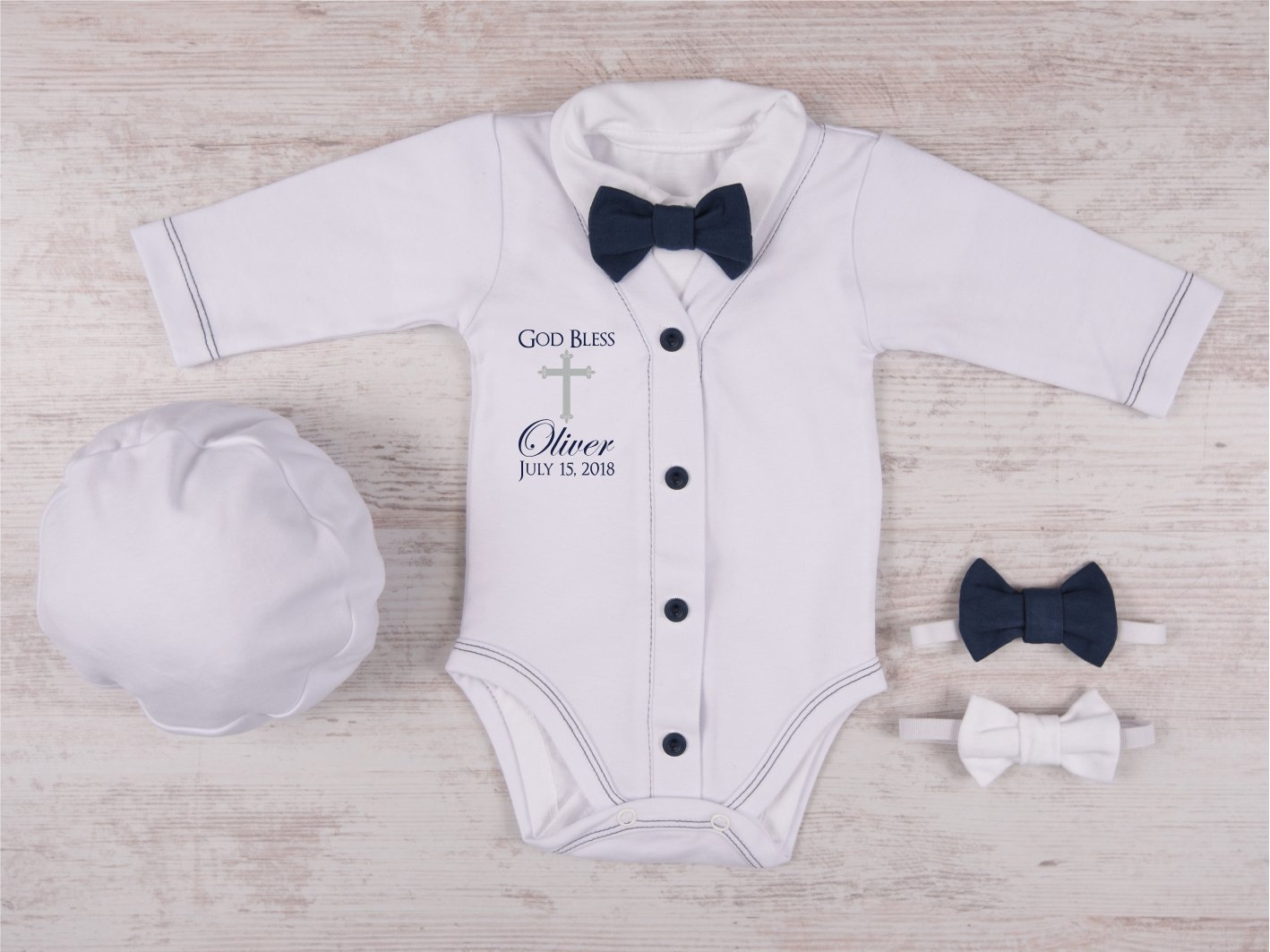 Baby Boy Baptism Outfit, God Bless Personalized White/Navy Cardigan, Bodysuit, Hat and Bow Tie Set