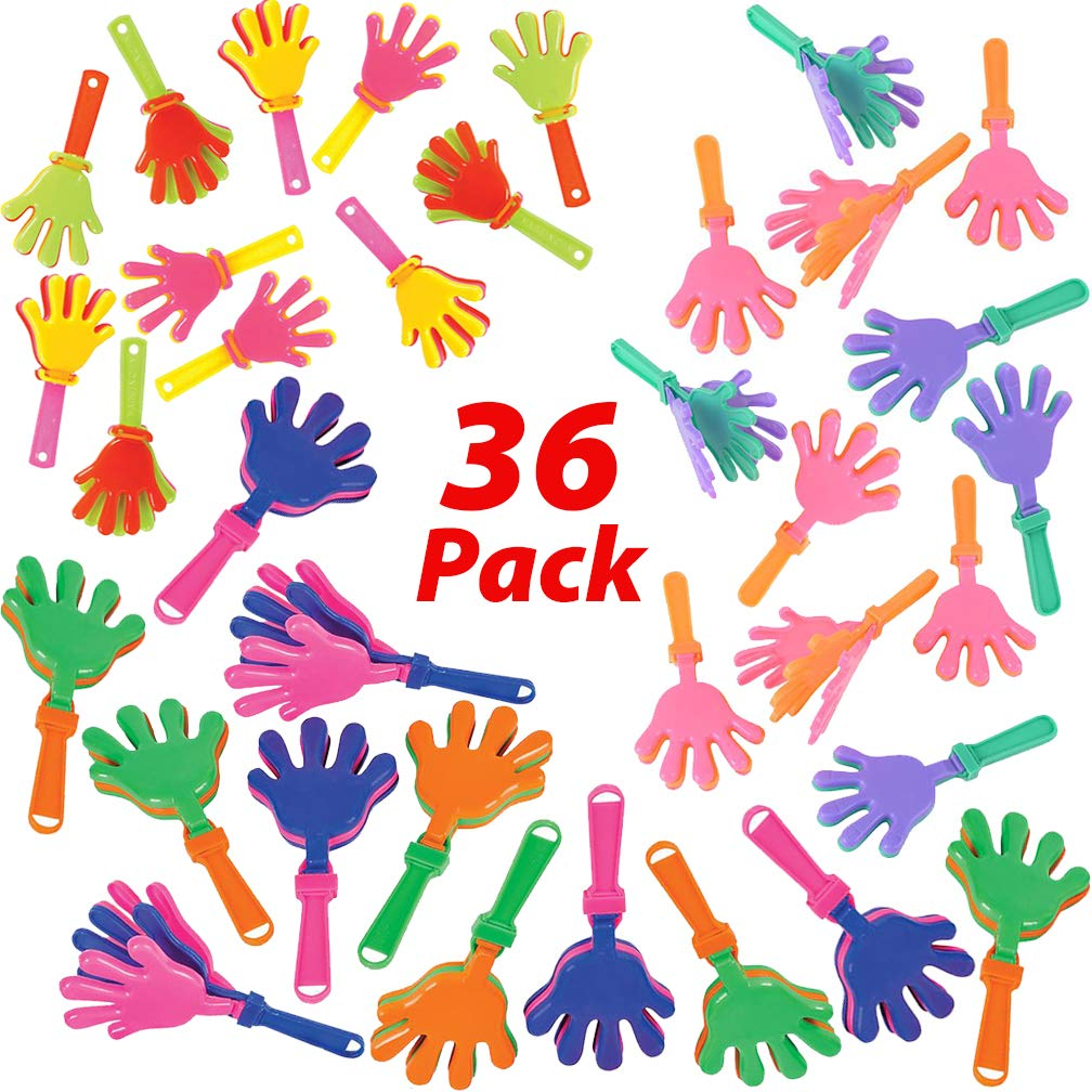 AbbyRose Party Noise Makers for Kids | 36 Bulk Hand Clappers Noisemakers - 3 Sizes (3'', 4'', 7.5'') | Pinata Toys, Birthday Party Favors, Goodie Bags Fillers, Bulk Prizes for Carnival Games by Mr. E=mc2