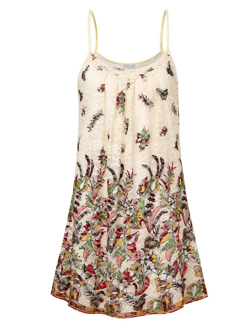BaiShengGT DRESS レディース B07F171YP9 Large|Beige Floral Beige Floral Large