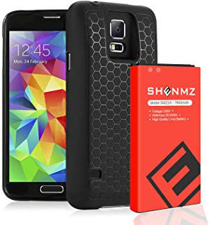Galaxy S5 Battery,7800mAh Galaxy S5 Extended Battery Replacement with Black Protection Cover Case (Up to 3X Extra Battery Power) for Samsung Galaxy S5 All Versions [18 Months Warranty]
