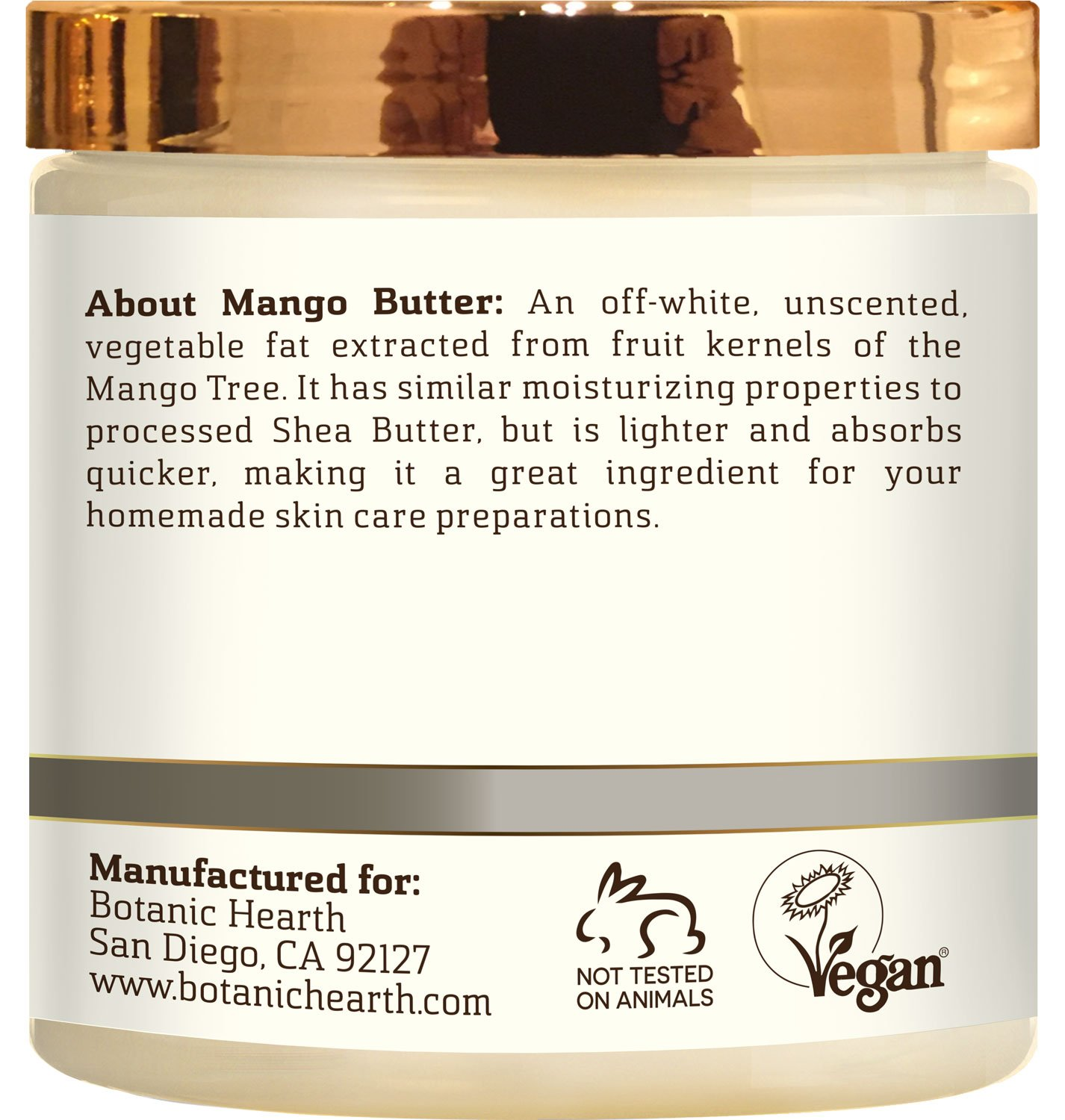 Botanic Hearth Mango Butter, Pure & Natural, Processed Premium Grade A, 8 Oz É
