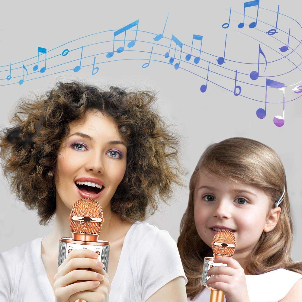 HahaGift Gifts for 3-14 Year Old Girls, Microphone Idea for Kids Toy Microphone for Kids Microphone Fun Toys for 3-14 Year Old Girls Boys (Rose Gold) by HahaGift (Image #4)