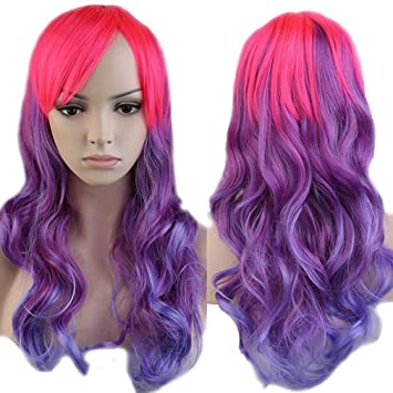 Anime Cosplay Curly Synthetic Wig Purple Ombre Pink Heat Resistant Fiber  Full Wig with Bangs Long ddc0c206c
