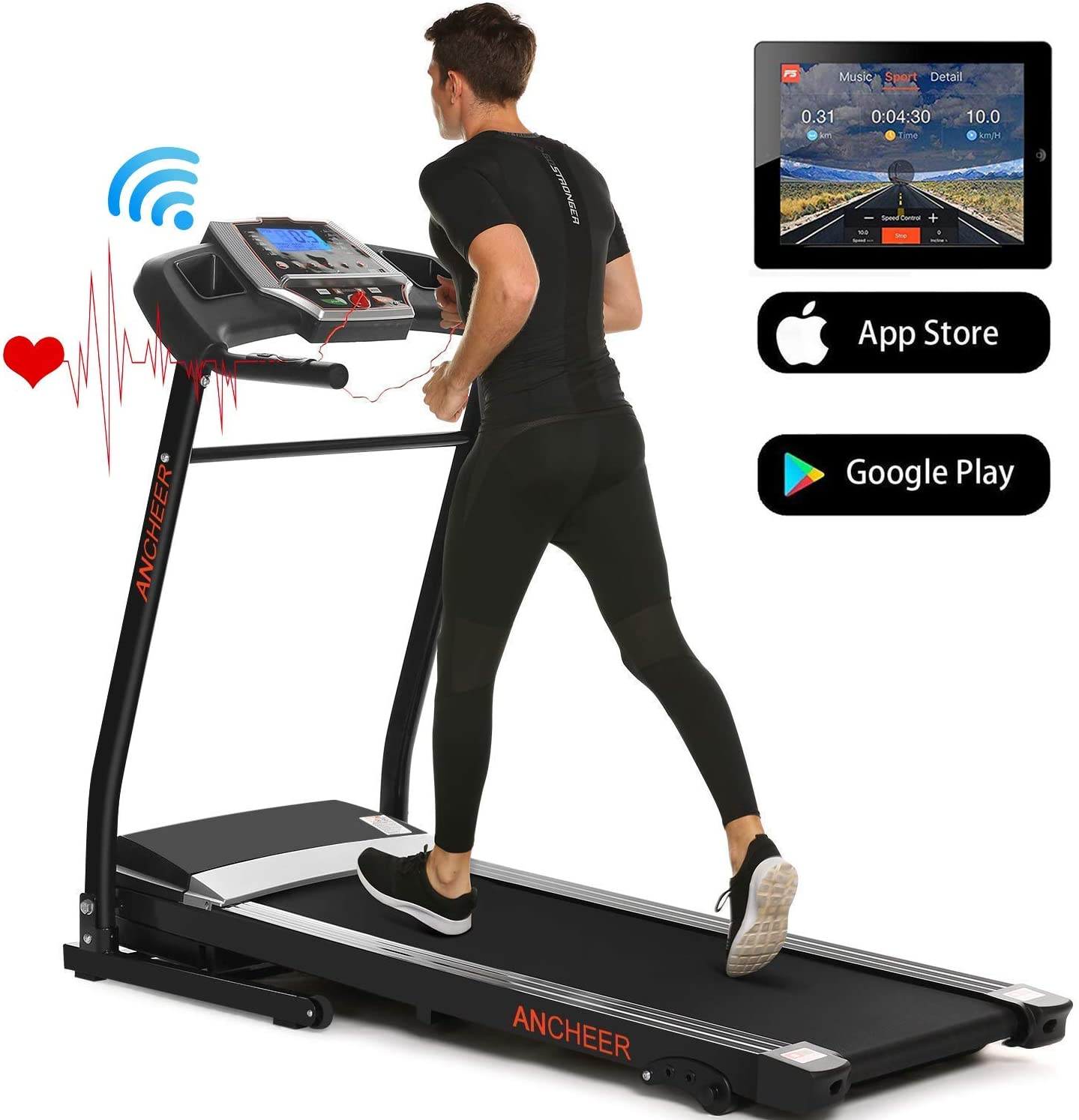 Treadmills for Home Running Machine with Incline – Folding Treadmill Electric Motorized Power with 12 Preset Programs Smartphone APP Control