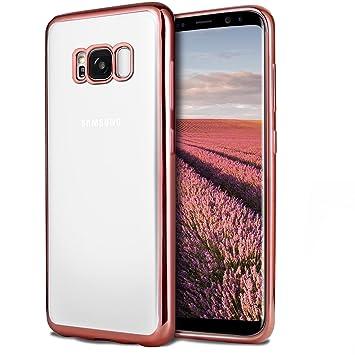 UBEGOOD Funda Samsung Galaxy S8, Galaxy S8 Carcasa Funda protectora Transparente Carcasa Case Bumper Delgado Enchapado Flexible TPU Funda Slim ...