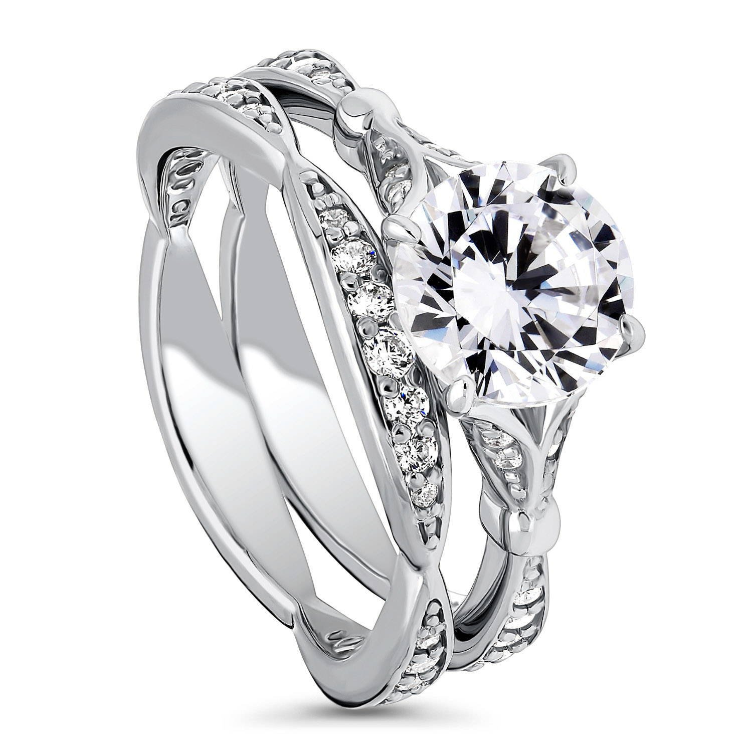 BERRICLE Rhodium Plated Sterling Silver Cubic Zirconia CZ Solitaire Engagement Ring Set Size 4